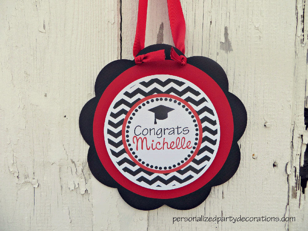 Chevron Graduation Party Welcome Sign