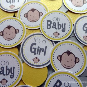 monkey baby shower table confetti