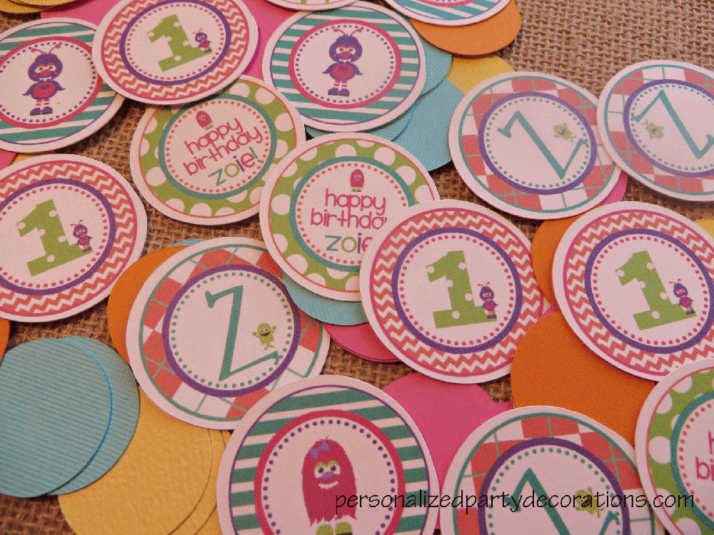 Monster Birthday Party Table Confetti (Girl)