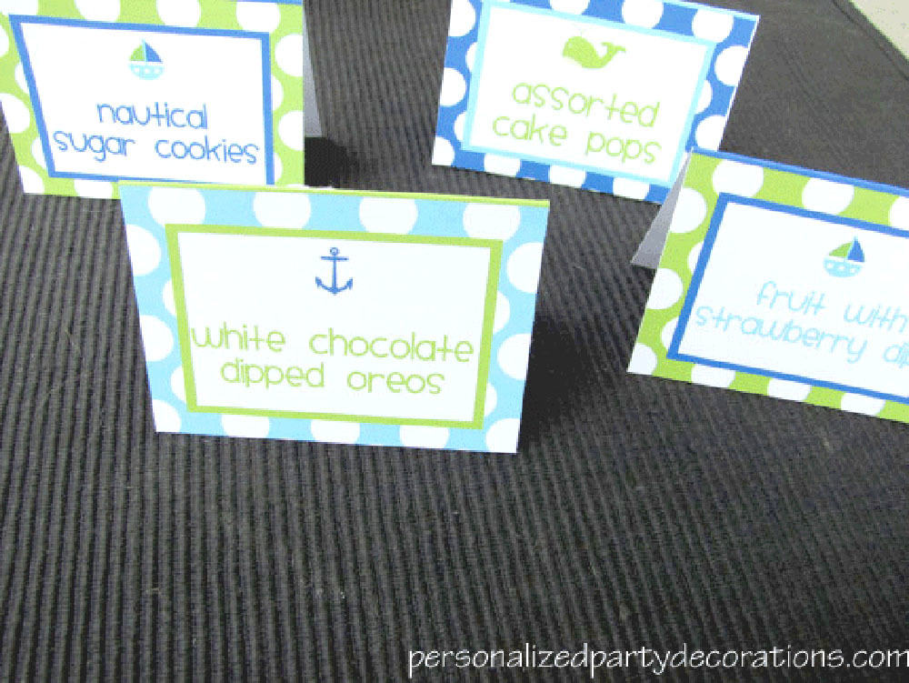 nautical themed birthday buffet cards
