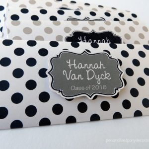 navy and white polka dot graduation party favor