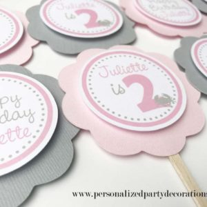 pink and gray nautical birthday party cupcake decorations