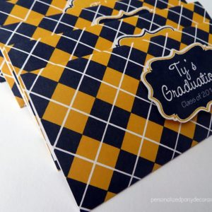 plaid graduation party favor
