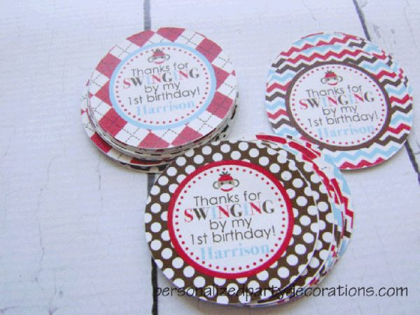 Sock Monkey Birthday Party Favor Tags