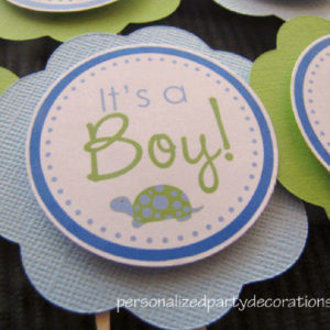 Turtle Baby Shower Cupcake ToppersTurtle Baby Shower Cupcake Toppers
