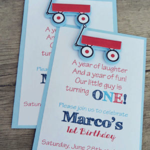 Wagon Birthday Party Embellished Invites