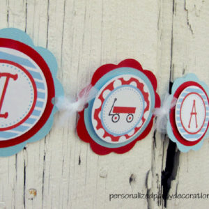 wagon theme birthday party banner