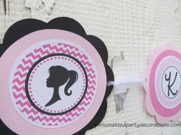 Barbie Birthday Party Name Banner