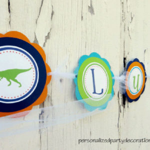 Dino Birthday Party Name Banner