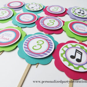 music theme 3rd birthday party cupcake toppers