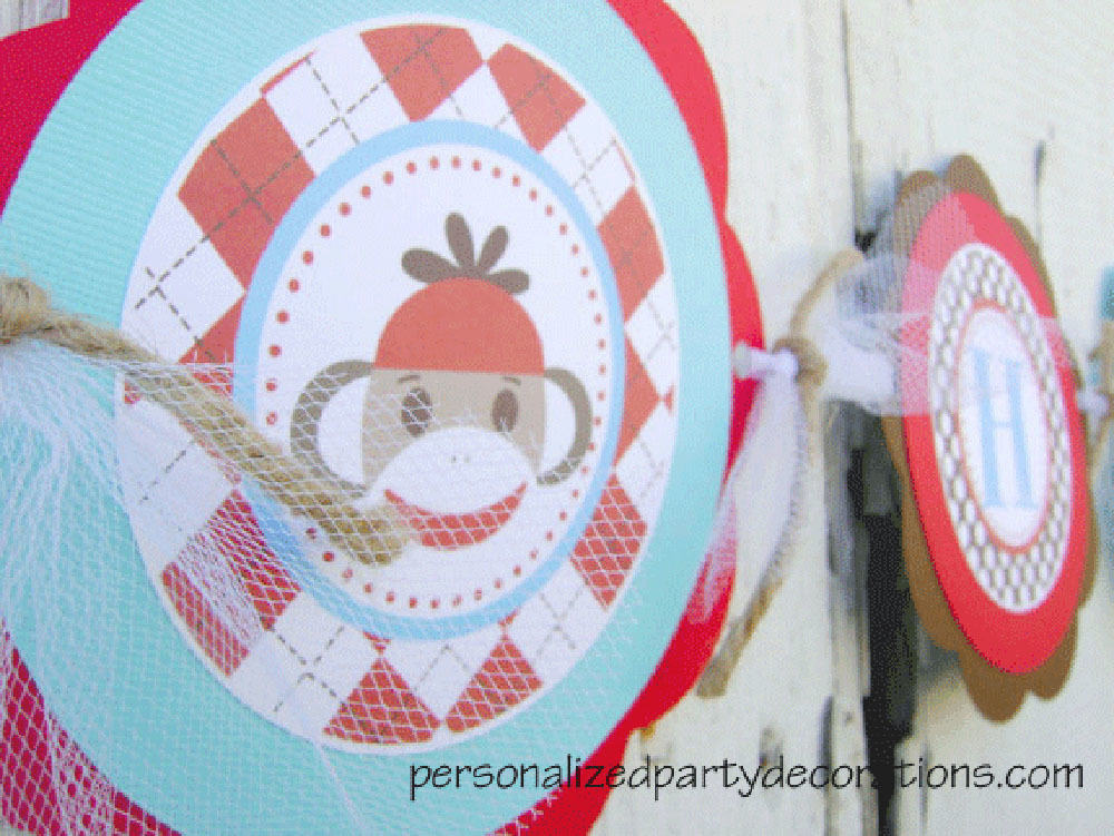Sock Monkey Birthday Party Banner