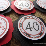 40th birthday party cupcake toppers personalized