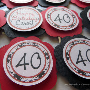 40th birthday party damask cupcake toppers