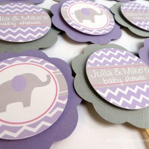 Girl Elephant Baby Shower Cupcake Toppers
