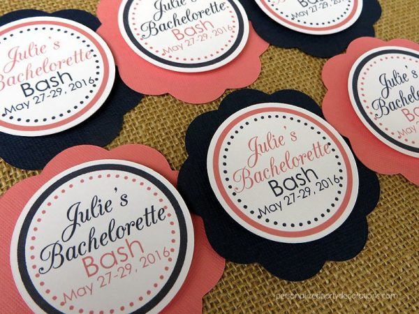 coral and navy bridal shower favor tag