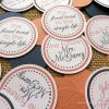coral and navy personalized bridal shower table confetti