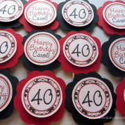 damask adult birthday party cupcake toppers