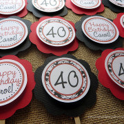 happy 40th birthday cupcake toppers