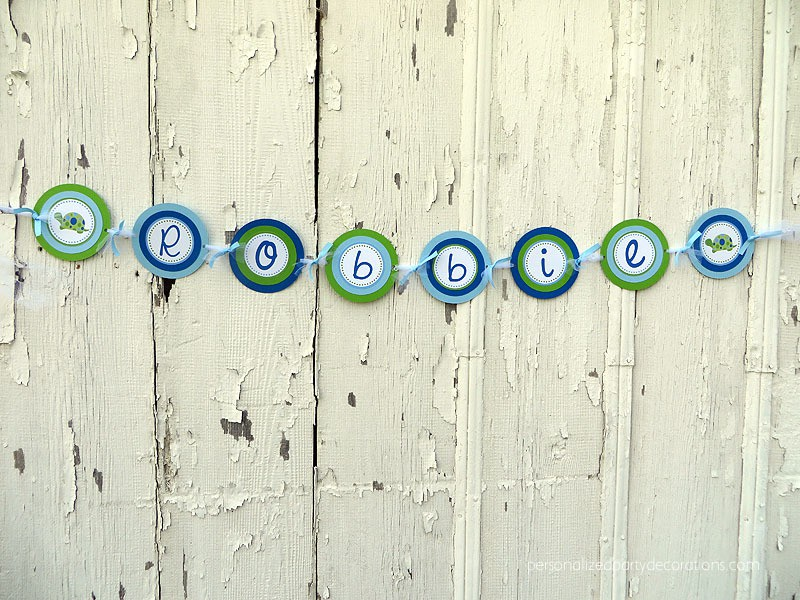 turtle birthday party name banner