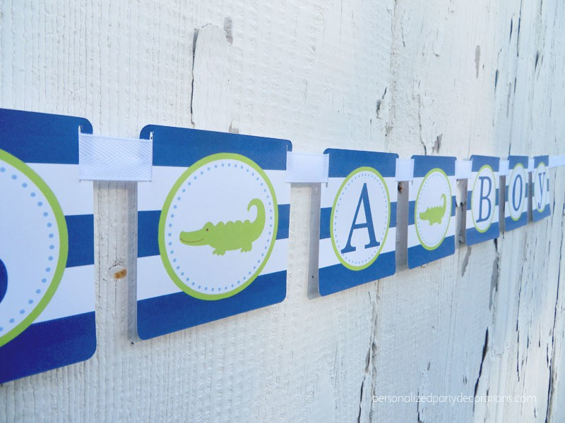 Alligator Navy and White Baby Shower Banner