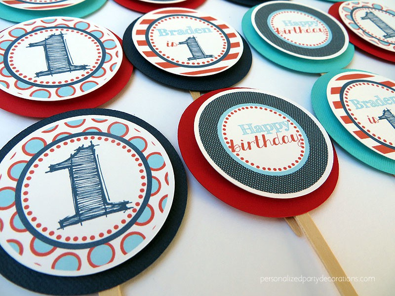 Red White and Blue Birthday Party Cupcake Toppers