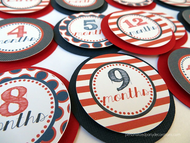 red white and blue first birthday month circles