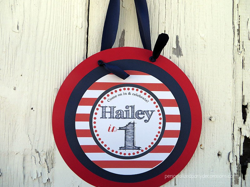 Red White and Blue Birthday Party Door Sign