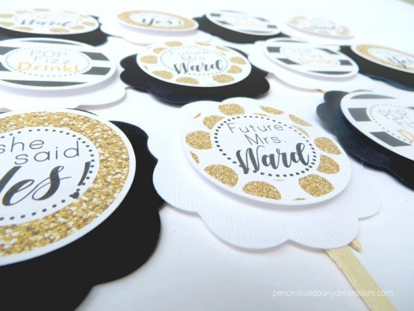 Black And Gold Bridal Shower Cupcake Toppers
