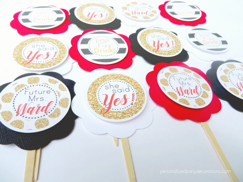 Black Gold And Red Bridal Shower Cupcake Toppers