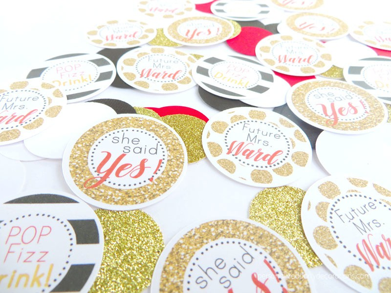 Black Red and Gold Bridal Shower Table Confetti