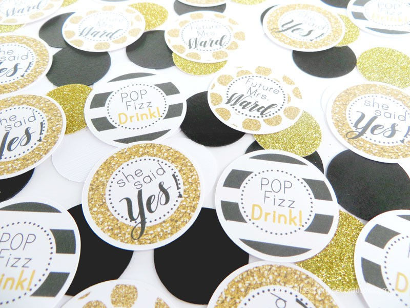 Black and Gold Bridal Shower Table Confetti