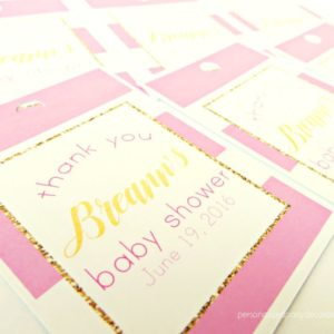 Pink and Gold Baby Shower Favor Tags