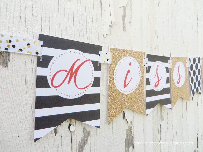 Black Gold and Red Bridal Shower Miss to Mrs. Banner