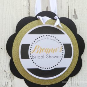 Black And Gold Bridal Shower Door Sign