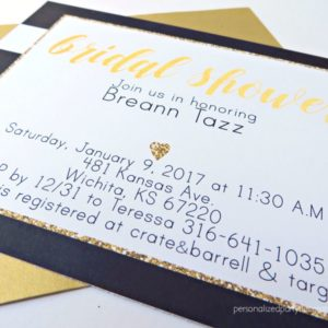 Black and Gold Stripe Bridal Shower Invitations