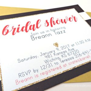 Black Red and Gold Stripe Bridal Shower Invitations
