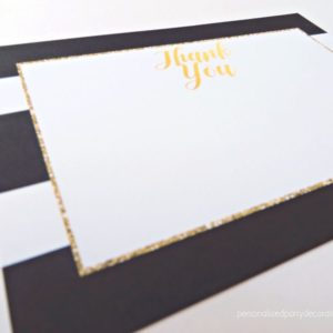 Black And Gold Bridal Shower Thank You Card Set
