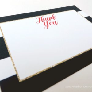 Black Gold And Red Bridal Shower Thank You Cards