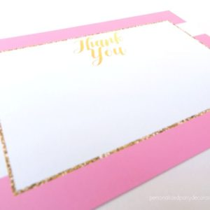 Pink And Gold Baby Shower Thank You Notes