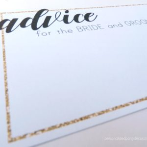 Black And Gold Bridal Shower Advice Cards
