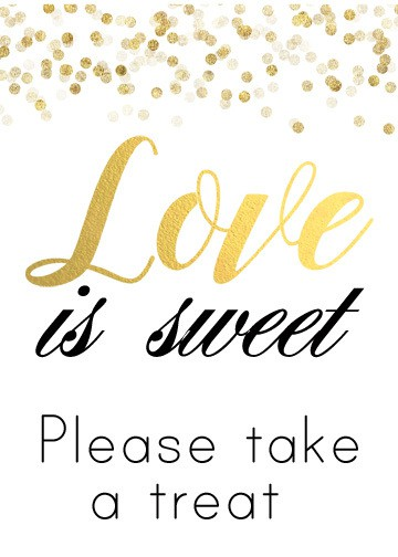 Black and Gold Love Is Sweet Sign