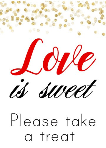 Black Red and Gold Love Is Sweet Sign