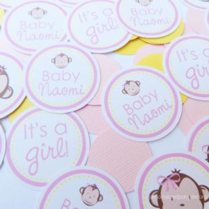 Girl Monkey Baby Shower Table Confetti