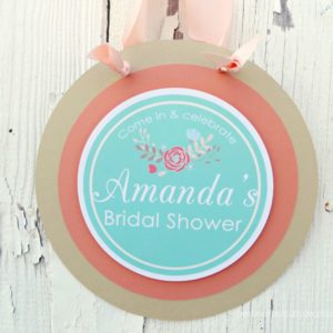 Floral Bridal Shower Door Sign