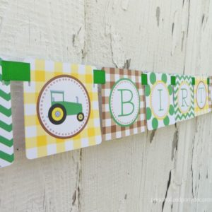 Tractor Theme Happy Birthday Banner
