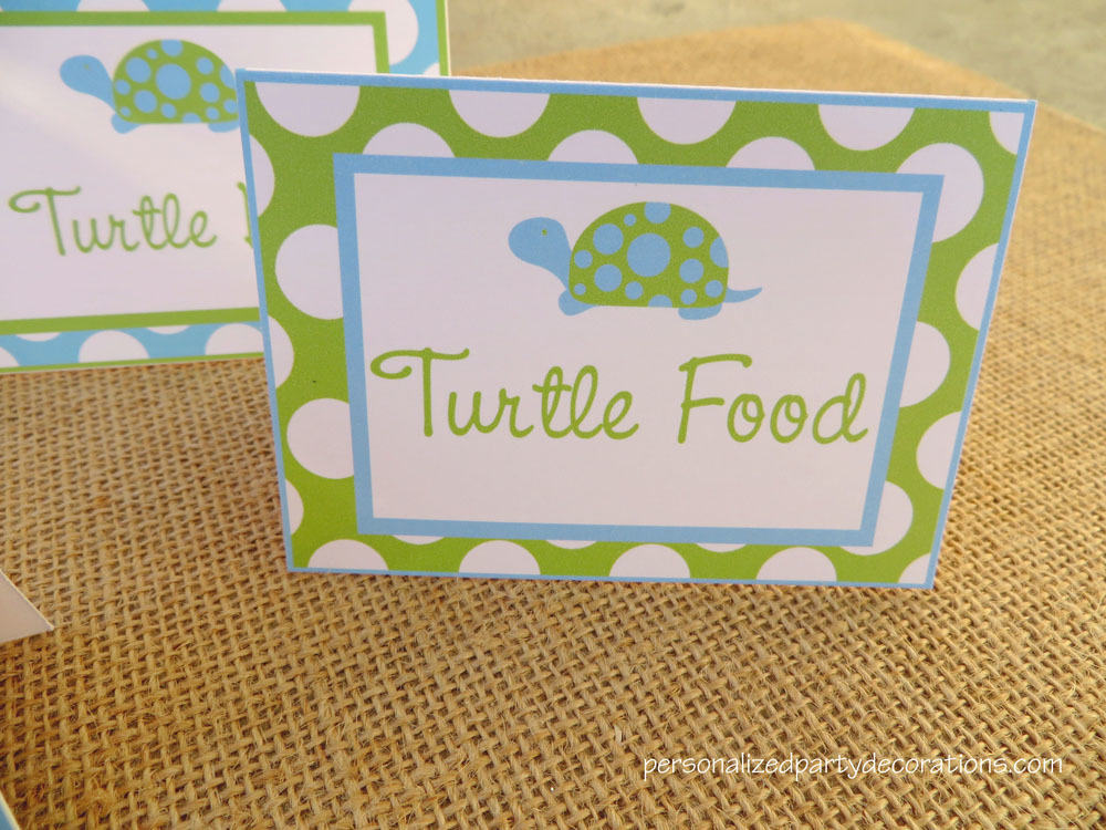 Turtle Baby Shower Buffet Cards
