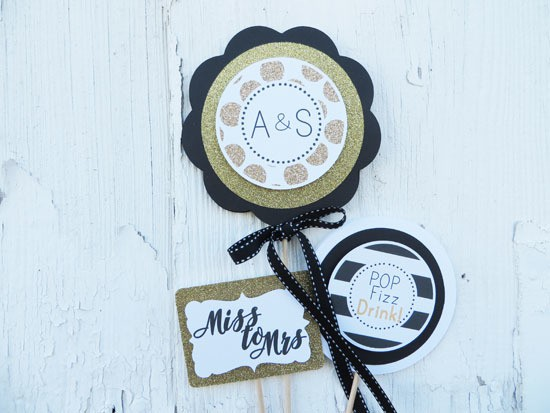 Black and Gold Bridal Shower Table Centerpiece