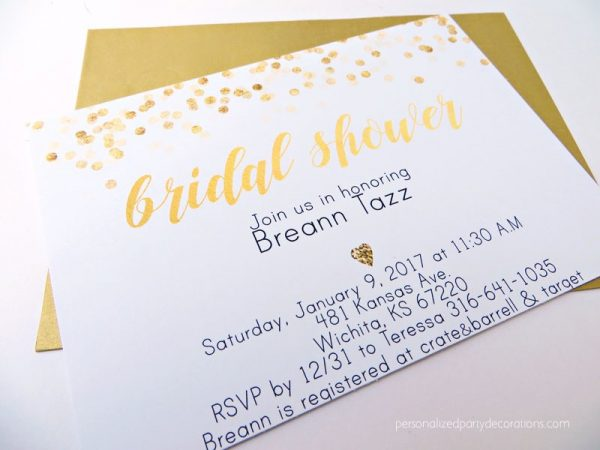 Black and Gold Dots Bridal Shower Invitations
