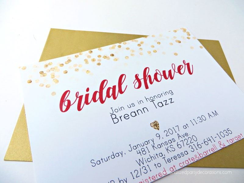 Black Red and Gold Dotted Bridal Shower Invitations