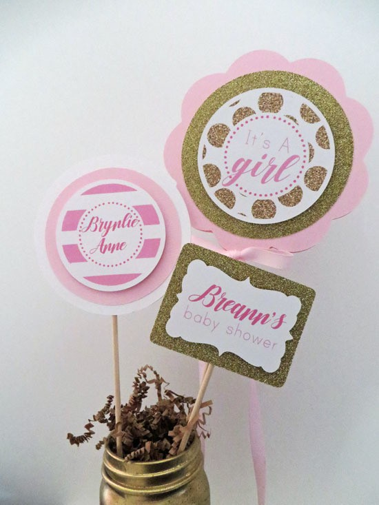 Pink and Gold Baby Shower Table Centerpiece